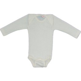 Fine Merino Baby-body, natural long-sleeved