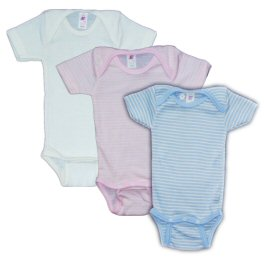 Silk & Wool Blend Baby-body, Short-sleeved