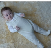 Baby Dungarees with Feet in Wool and Silk