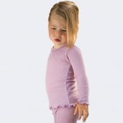Lilac Long-Sleeved Ribbed Vest in Wool and Silk