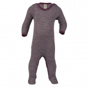 Babygrow With Feet In Wool And Silk Silk And Wool Footed