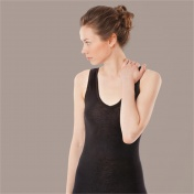 Extra-Soft Women's V-Neck Sleeveless Vest in Wool and Silk