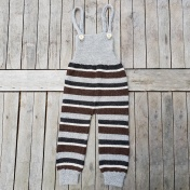Stripy Hand-Made Dungarees in Pure Alpaca