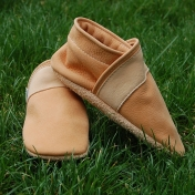 Natural Slippers for Children in Undyed Leather