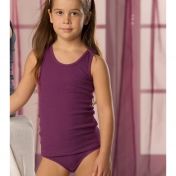 Girl's Organic Ribbed Cotton Vest