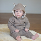 Reversible Wolf and Bear Hooded Jumper in Alpaca