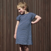 Stripy Short-Sleeve Dress in Organic Cotton