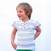Girl's Stripy Ruffle Top in Soft Organic Cotton