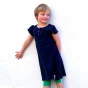 Navy Ruffle Dress in Soft Ethical Cotton