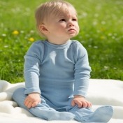 Babygrow with Feet in Wool and Silk