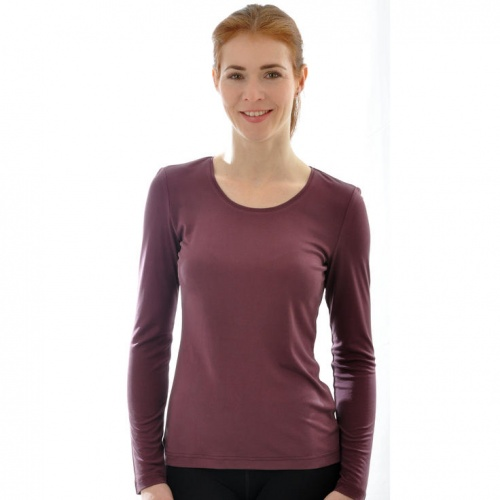 Women's Long-Sleeved Top in Pure Silk Jersey