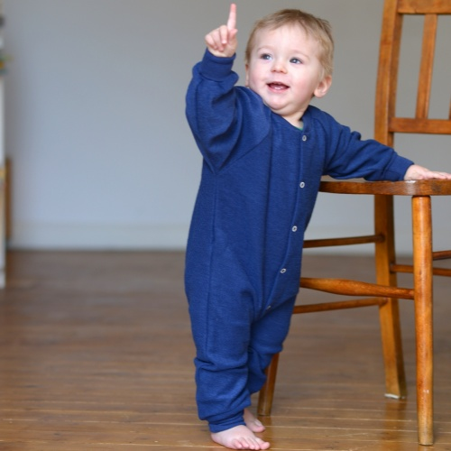 All In One Pyjamas Without Feet In Merino Wool Footless