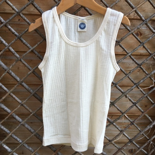 Child's Sleeveless Vest in Merino Wool, Silk and Organic Cotton