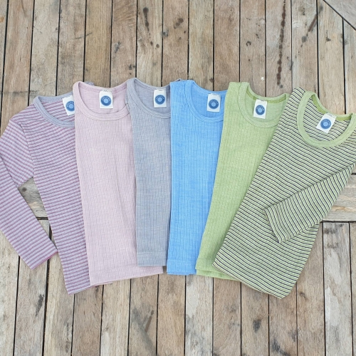 Children's Long Sleeved Top in Wool, Silk & Organic Cotton