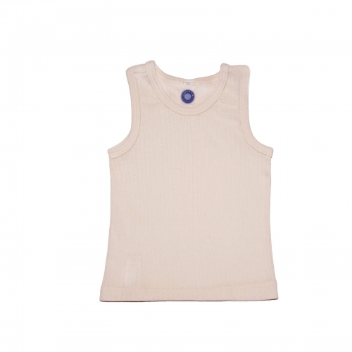 Child's Sleeveless Vest in Organic Cotton, Merino Wool & Silk
