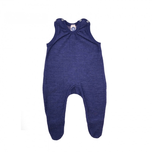 Organic Merino Wool Terry Romper With Feet