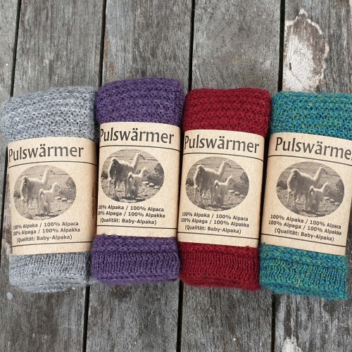 Women's Knitted Wrist Warmers with Thumb in Pure Baby Alpaca