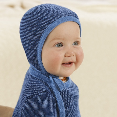Knitted Organic Merino Wool Melange Baby Bonnet by Disana