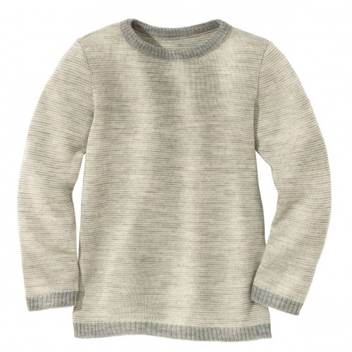 Two-Tone Knitted Jumper in Organic Merino Wool