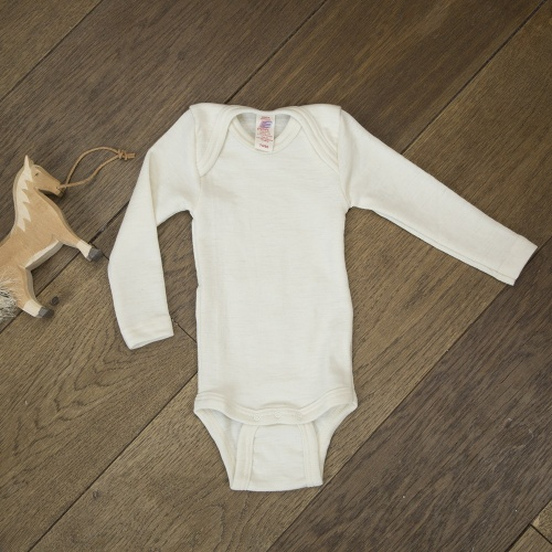 eb1801567 Fine Merino Baby-body, natural long-sleeved