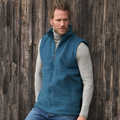 Men's Bodywarmer in Merino Wool Fleece