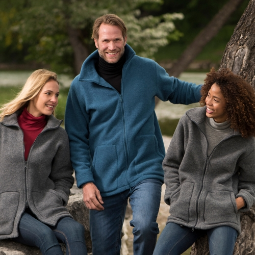 Adult's Organic Merino Wool Fleece Jacket With Cuffs