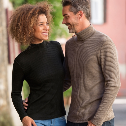 Women's Ribbed Turtleneck Top in Merino Wool and Silk