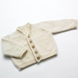 Hand-Knitted Fair-Trade Baby Cardigan in Merino Wool