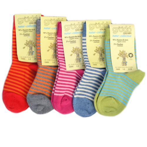 2-Pack - Stripy Children's Socks in Organic Cotton