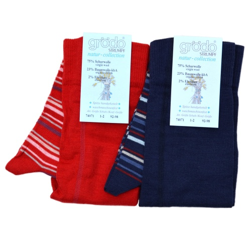 Machine-Washable Stripy Tights in Wool and Cotton