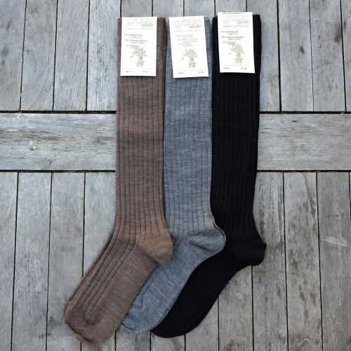 Adult's Knee Length Socks In Organic Wool & Cotton