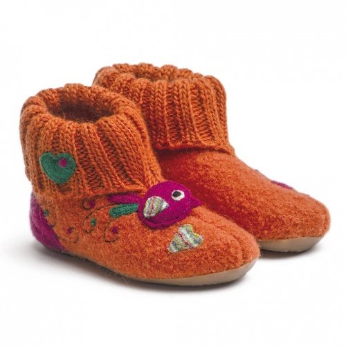 Sweety Slippers in Boiled Wool with Rubber Soles