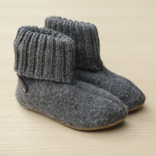 Haflinger Boiled Wool Slipper with Rubber Sole