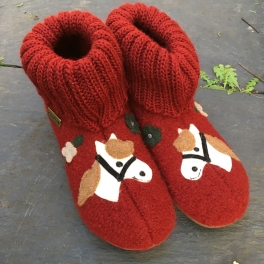 Pony Slippers in Boiled Wool with Rubber Sole by Haflinger