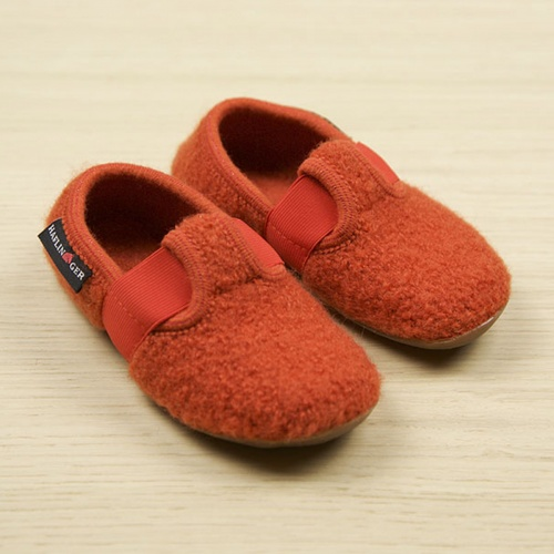 Jonas T-Bar Slipper in Boiled Wool with Rubber Sole