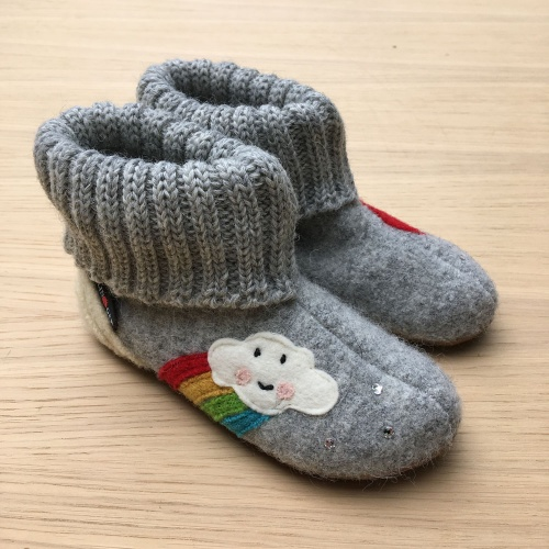 Rainbow Slippers in Boiled Wool with Rubber Sole by Haflinger