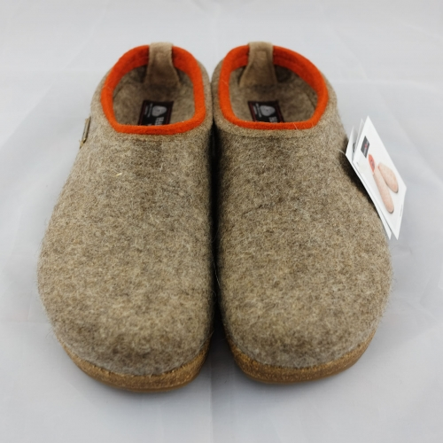 Haflinger Slipper In Felted Wool With Cork & Latex Sole