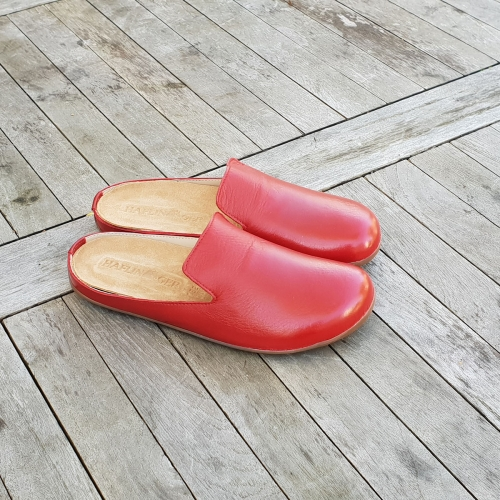 Soft Leather Slippers With A Rubber Sole