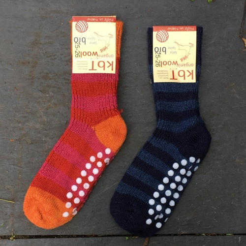 Stripy Non-Slip Grippy Socks in Pure Wool