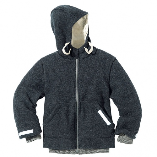 Hooded Jacket in Boiled Organic Merino Wool