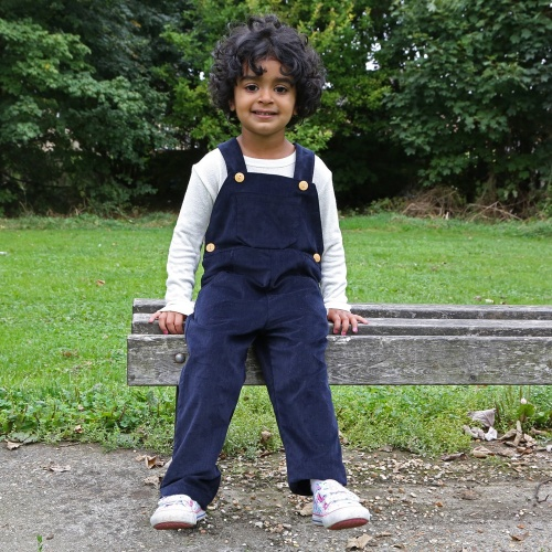 Navy Dungarees in Organic Cotton Baby Cord