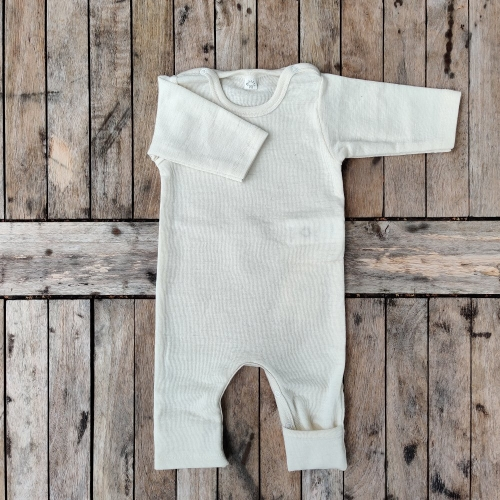Organic Merino Wool Baby Overall With Fold-Over Feet