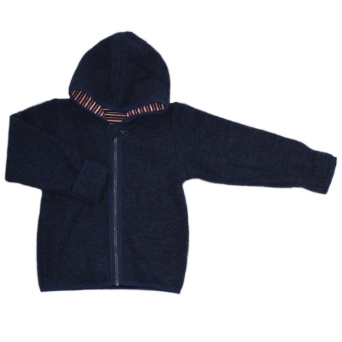 Wool Fleece Hooded Jacket With Foldover Cuffs