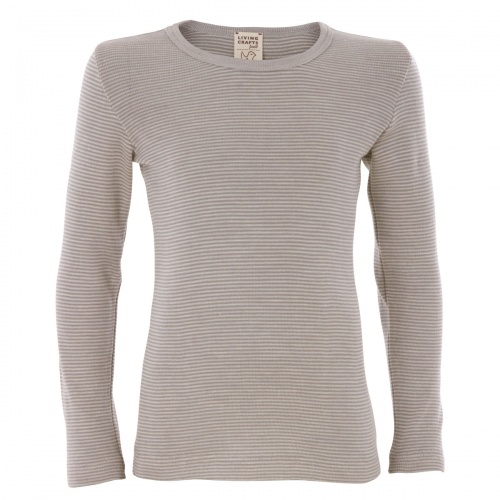 Extra-Soft Long-Sleeved Vest Top in Organic Wool/Silk