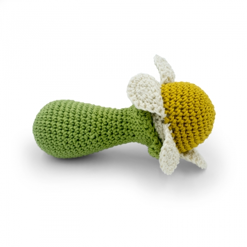 Chamomile Flower Hand Crocheted Rattle