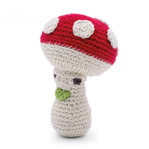 Meredith Mushroom Hand Crocheted Rattle