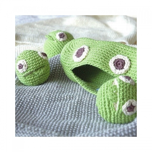 Pea Family Hand Crocheted Rattle Set