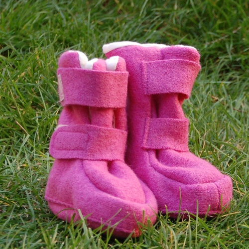 Long Boiled Wool Booties with Double Velcro, Fully Lined