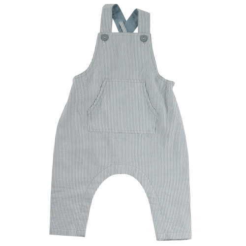 Cotton Seersucker Baby Dungarees