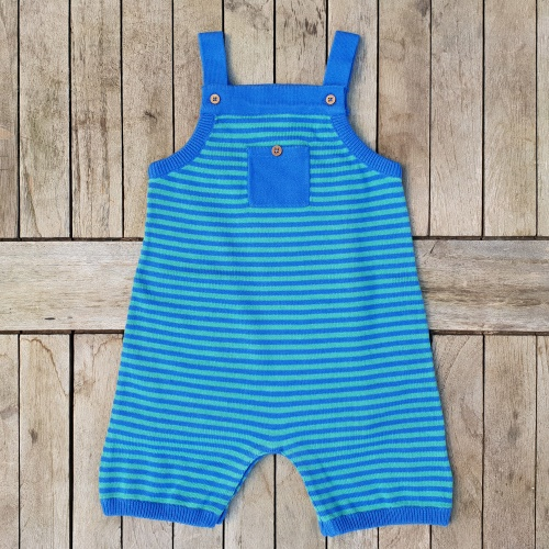 Stripy Playsuit in Knitted Organic Cotton